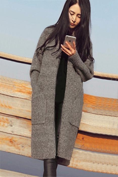 2015秋冬新款女装韩版灰色长款开衫外套女