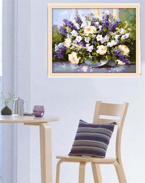 diy数字油画,手绘客厅卧室装