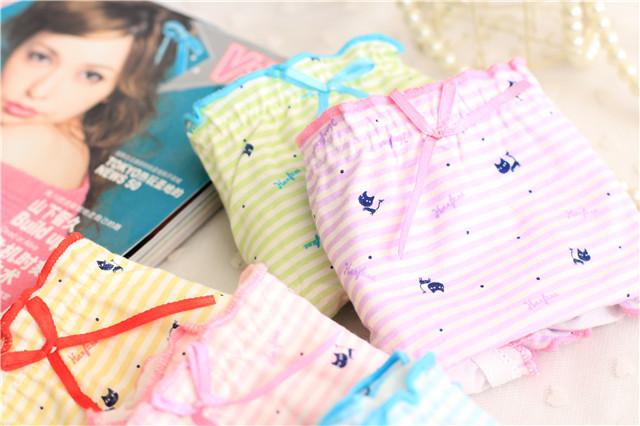 【2条装条纹可爱卡通花边女生内裤】-内衣-女士内衣
