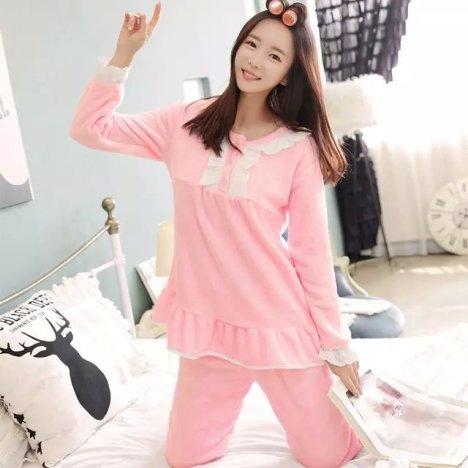 韩版公主蕾丝荷叶花边睡衣女生粉色可爱萌萌哒家居服套装