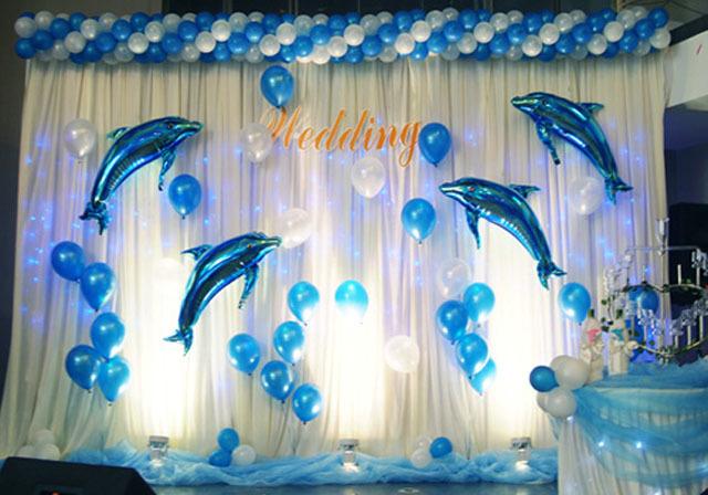 海豚气球 生日背景墙装饰 非洲大鲨鱼气球 活动布置