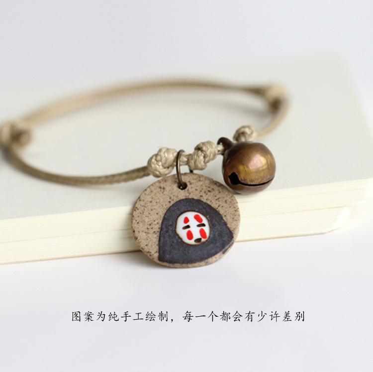日系原宿手绘陶瓷闺蜜手链 铃铛手链