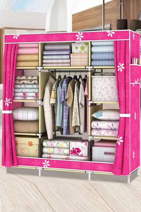 【加粗钢管折叠衣柜】-家居-简易衣柜