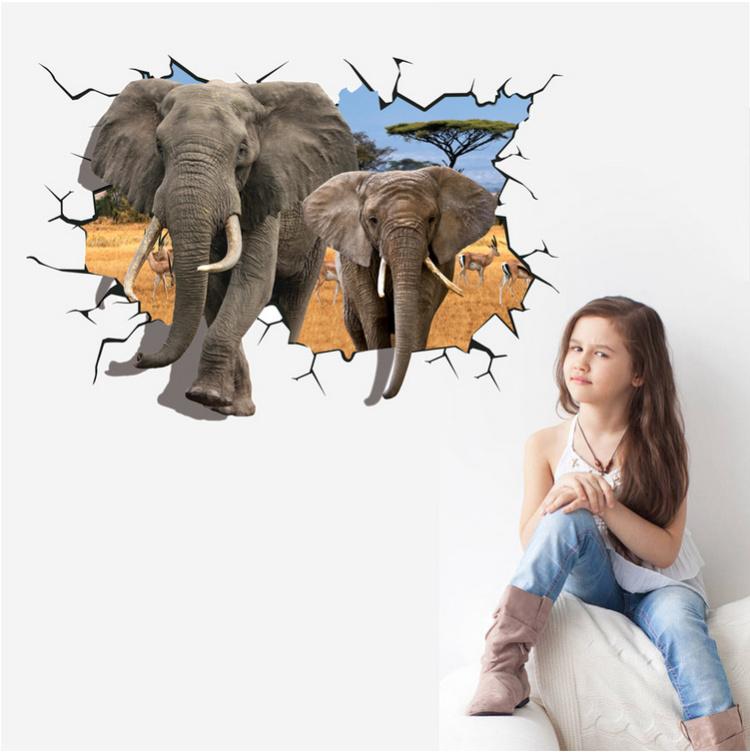 【【爱饰】穿墙大象3d特效立体墙贴可移除时尚客厅墙