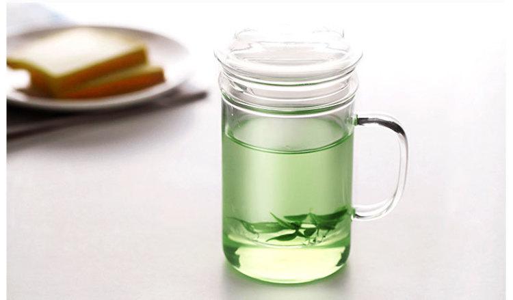 喝茶杯子 透明水杯套装 茶水分离过滤泡茶杯玻璃杯双层带盖