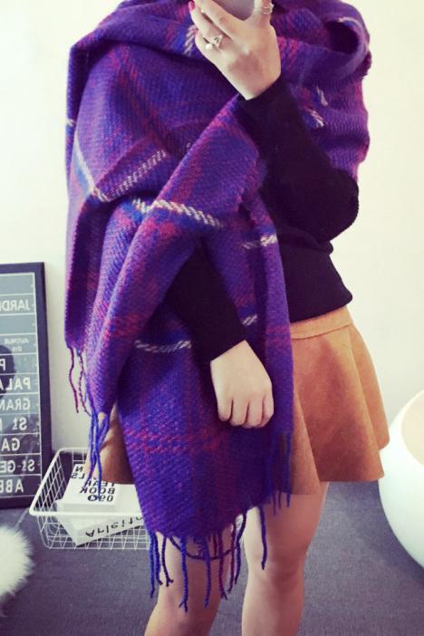 【洋气保暖格子围巾】-配饰-女士配饰