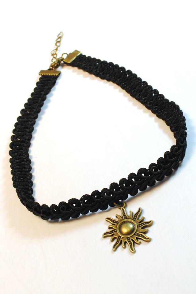 原宿日系 黑色凤凰编织绳火花太阳牌套装(项链 手链)