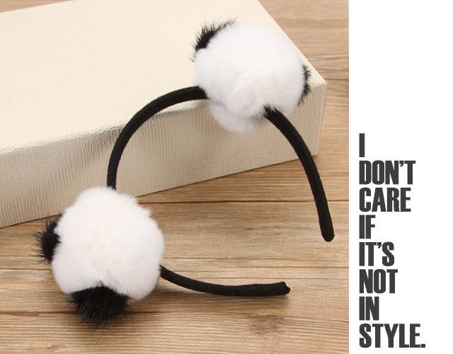 甜美可爱毛球熊猫发箍