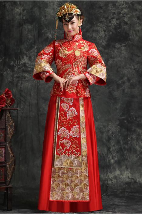 新款新娘秀禾服中式婚纱礼服刺绣结婚敬酒服龙凤褂中国古典婚礼服