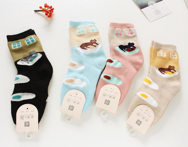 【4双】可爱猫咪煎蛋厚毛巾袜
