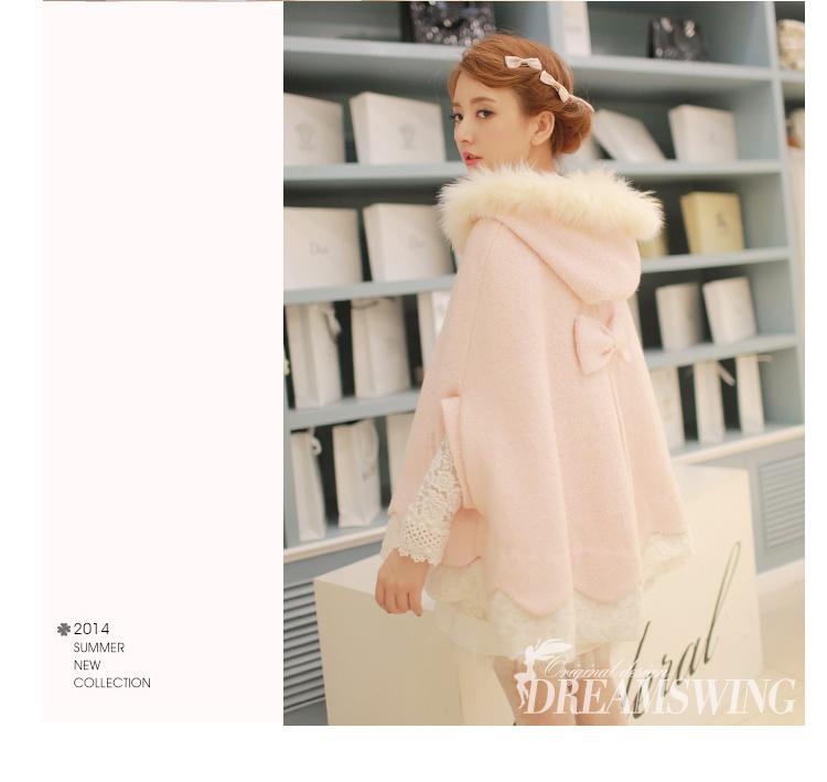 秋冬款甜美可爱日系公主粉色毛领带帽女款斗篷毛呢外套中长款