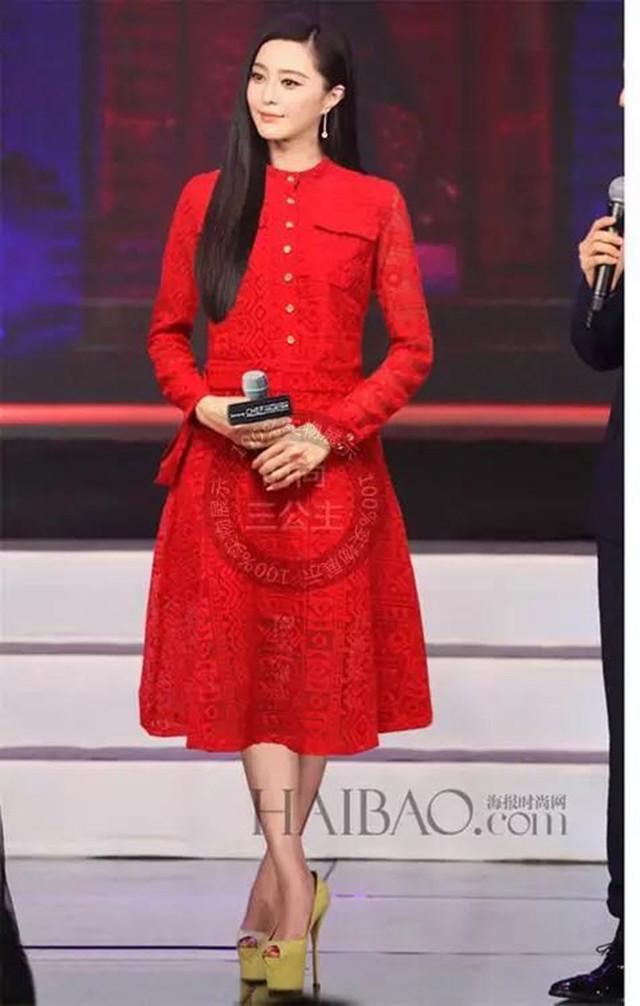 【范冰冰明星同款红色蕾丝连衣裙】-衣服-连衣裙