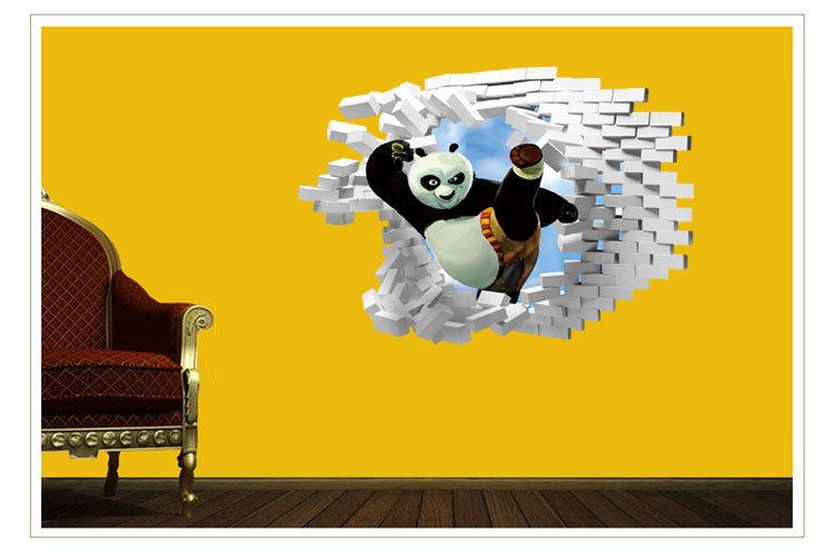 【爱饰】功夫熊猫3d破墙立体墙贴 儿童房幼儿园装饰墙贴
