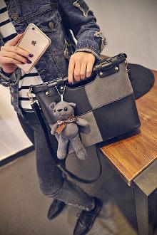 Túi xách có dây đeo phối màu phong cách cổ điển (tặng móc treo gấu thú bông)