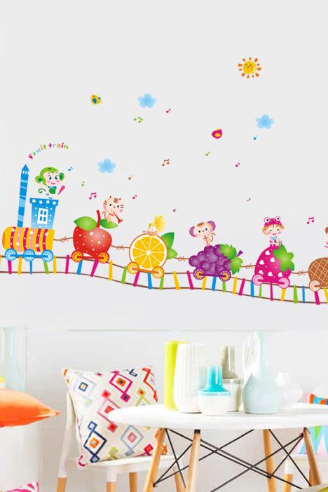 怡然之家 精美卡通儿童房墙贴画 水果火车