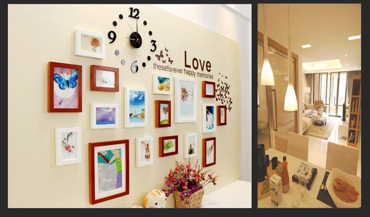 现代简约钟表款高端实木相框创意照片墙
