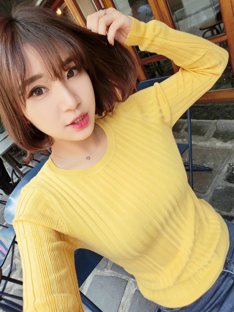 丢丢家2015秋冬季新款韩版显瘦圆领毛衣女竖螺纹针织衫