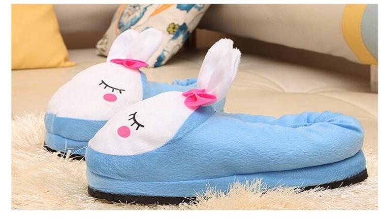【冬季新款韩版卡通可爱兔兔保暖防滑家居棉拖鞋】