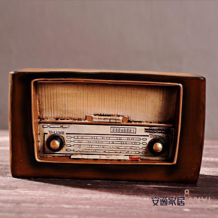 【复古摆件做旧欧式老式收音机装饰品店面酒吧橱窗品