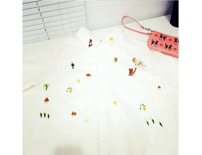 商品描述 个性童趣森林小动物长袖衬衫,领子上有刺绣,极其可爱精致