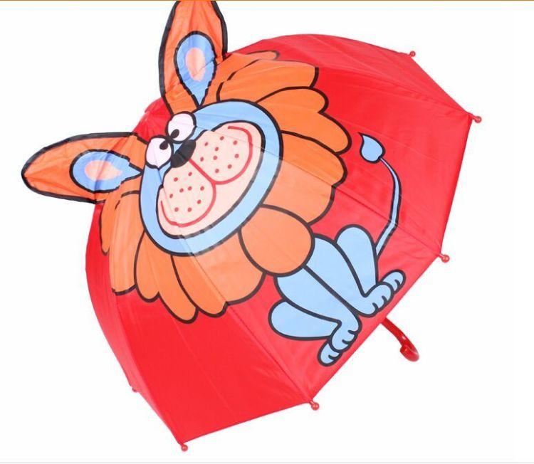 韩版可爱卡通儿童雨伞逼真立体动物耳朵造型手动创意遮阳晴雨伞