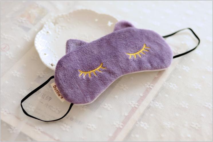 可爱卡通 睫毛猫咪遮光眼罩 旅行睡眠缓解疲劳护眼舒适柔软