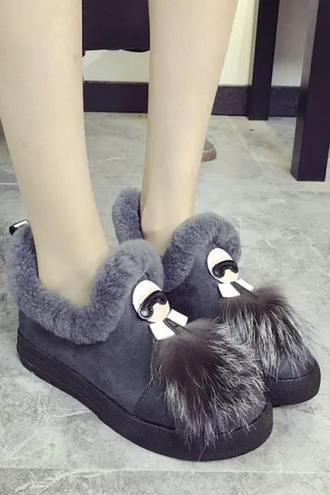 【韩版厚底卡通雪地靴】-鞋子-女鞋