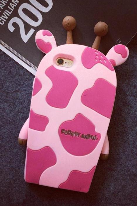 森系长颈鹿手机壳苹果4硅胶可爱保护套软壳