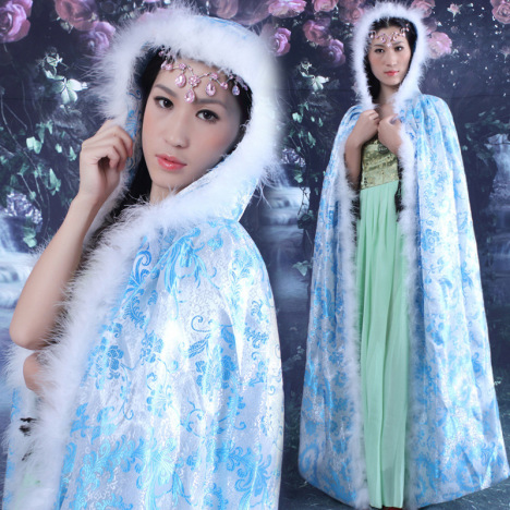 秋冬雪天披风仙女古装公主贵妃摄影写真舞台演出服装