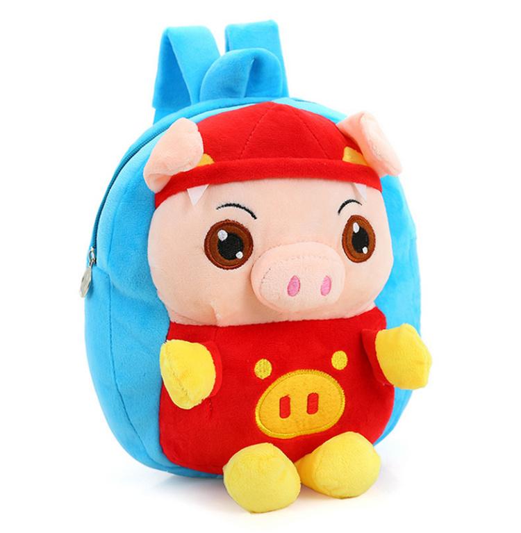 猪猪侠毛绒小书包卡通可爱1-2-3周岁男童女儿童双肩玩具书包