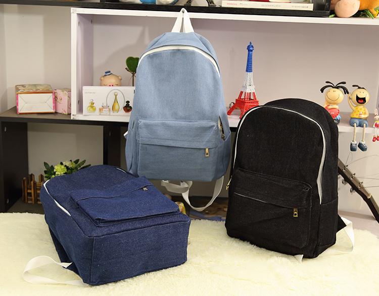 【经典纯色牛仔布男女双肩包】-包包-箱包皮具/女包