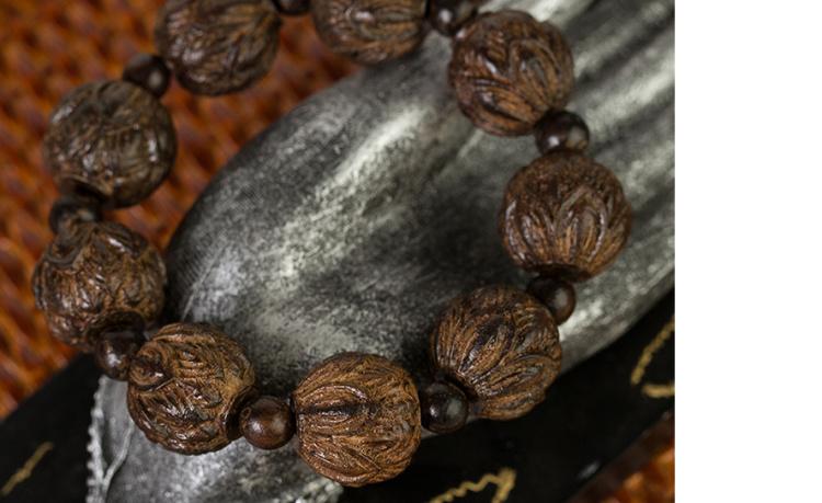 【天然乌木水沉木雕刻莲花20mm大颗佛珠男女手串带