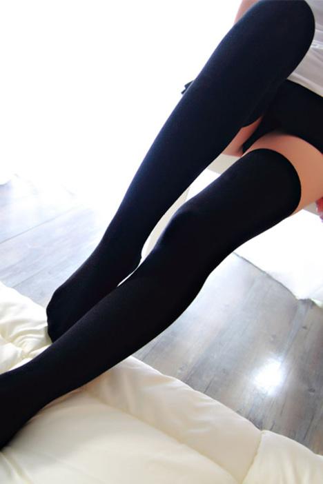 【日系可爱过膝袜性感高筒袜防勾丝黑色显瘦丝袜子女