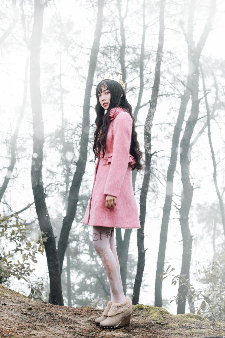 诺里原创设计甜美公主洛丽塔领口立体花朵羊毛毛呢大衣冬