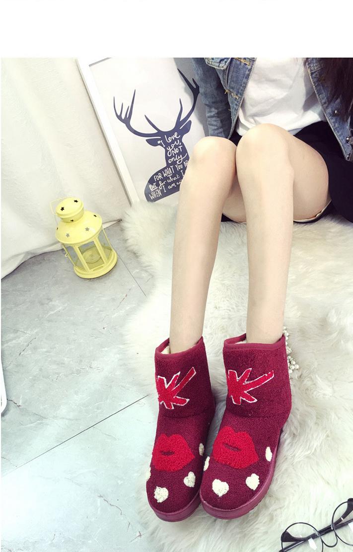 【新款米字旗嘴唇卡通雪地靴】-鞋子-女鞋