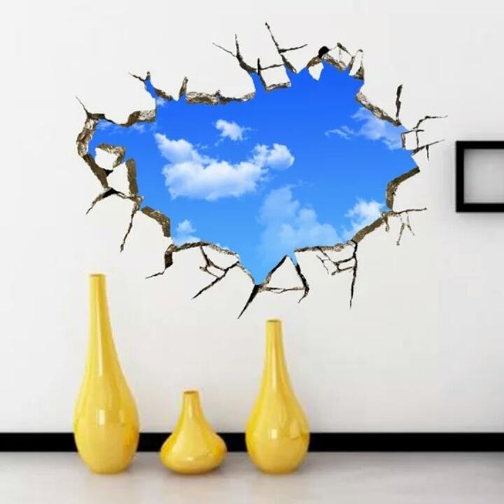 【穿墙创意蓝天白云3d立体天花板墙贴客厅卧室背景墙