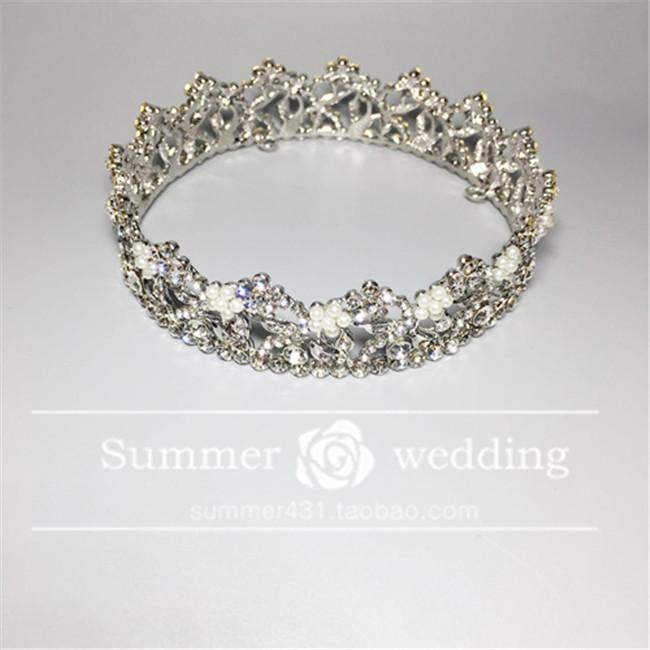 【韩式新娘皇冠结婚盘发饰品珍珠合金圆王冠头饰婚纱