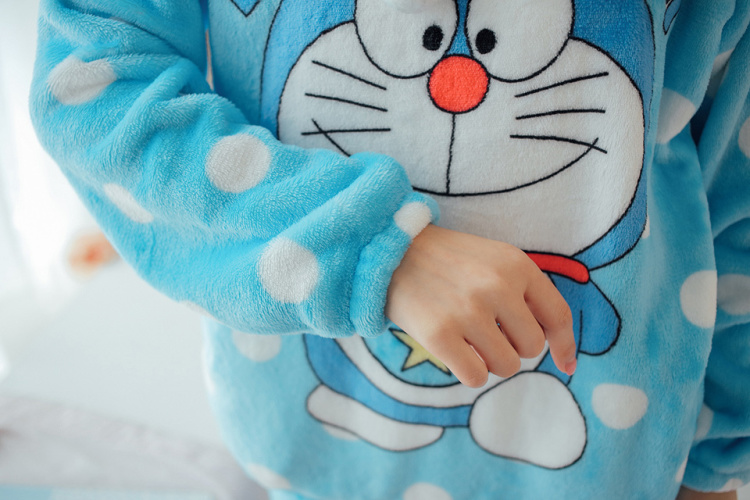 新款冬季女士法兰绒睡衣长袖卡通 可爱多啦a梦珊瑚绒家居服套装