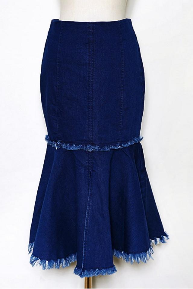 chuu-创意拼接式鱼尾牛仔裙