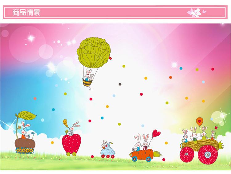【【简一】胡萝卜蔬菜飞船动物墙贴画】-家居-贴饰