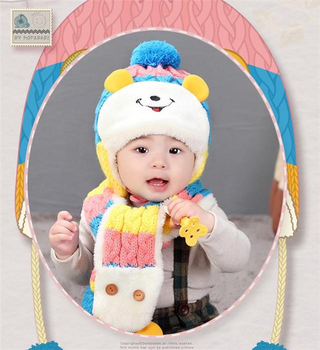 【宝宝帽子秋冬季1-2-4岁儿童冬款保暖加绒帽毛线