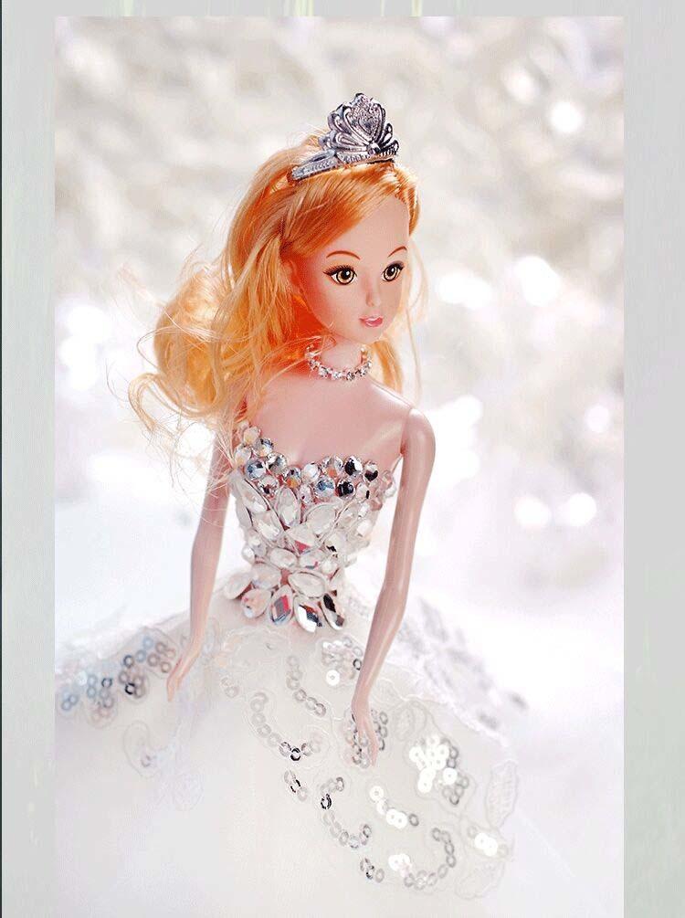芭比娃娃婚纱裙拖尾结婚儿童生日礼物品新娘婚庆摆件可儿公主女孩