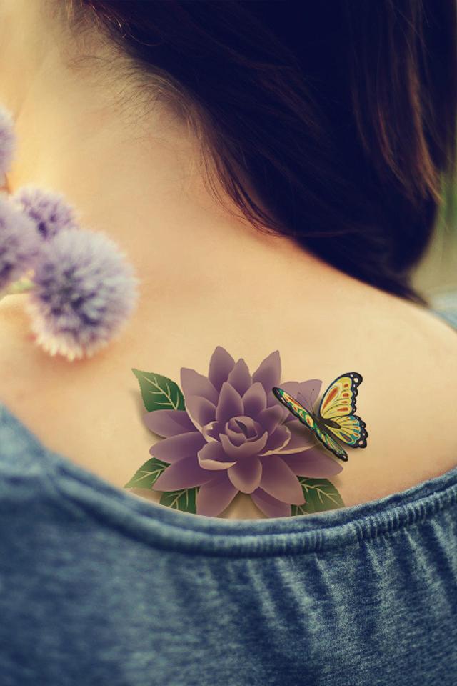 【纹身贴防水女3d蝴蝶花朵玫瑰花牡丹莲花花臂立体图片