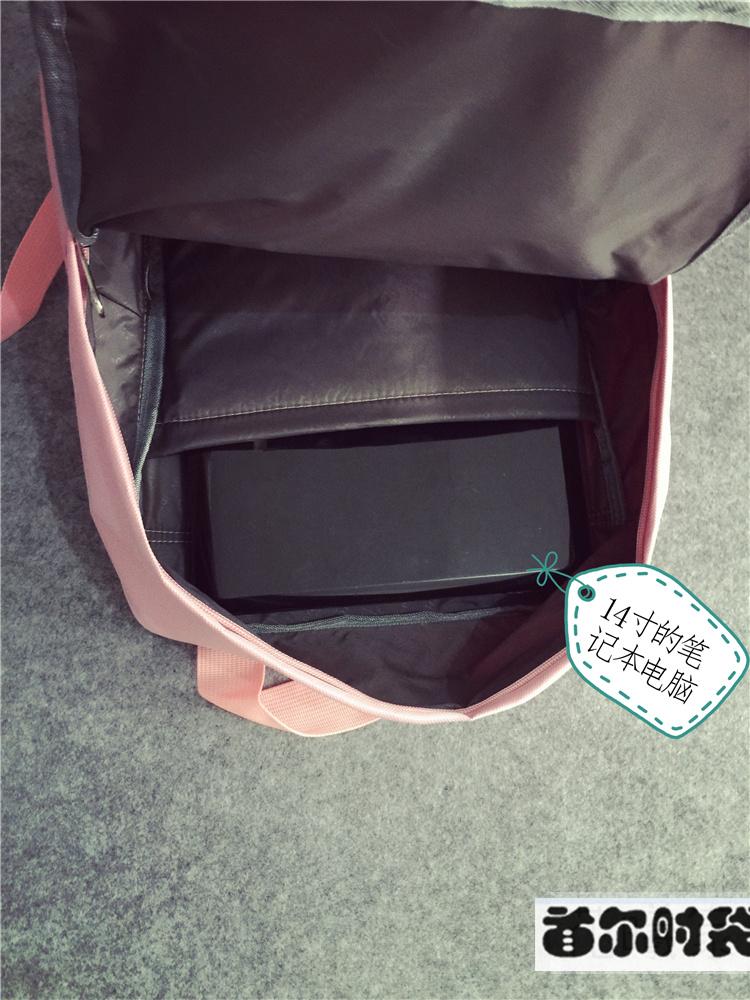 刺绣可爱方形双肩包 韩国ulzzang原宿风中大学生书包
