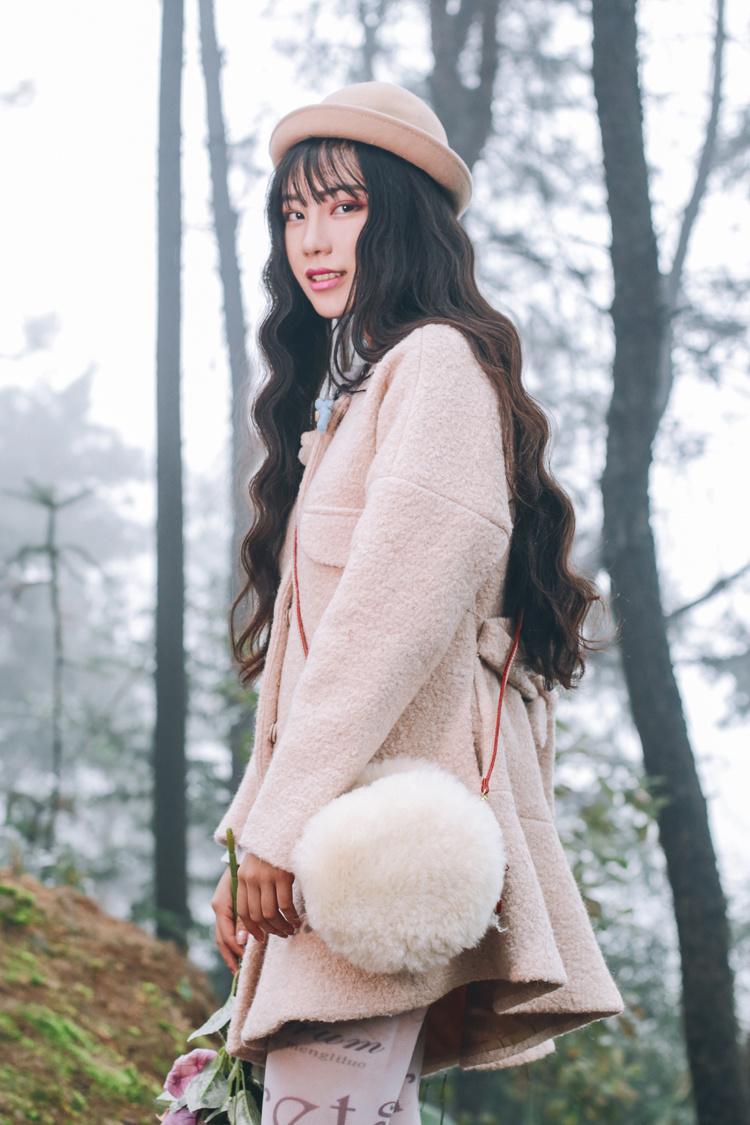 诺里原创设计甜美公主洛丽塔日系复古不规则荷叶下摆毛呢大衣外套