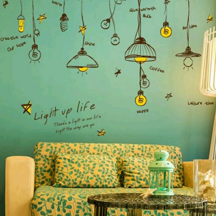 【创意吊灯宿舍墙贴欧式温馨墙壁装饰贴画客厅卧室