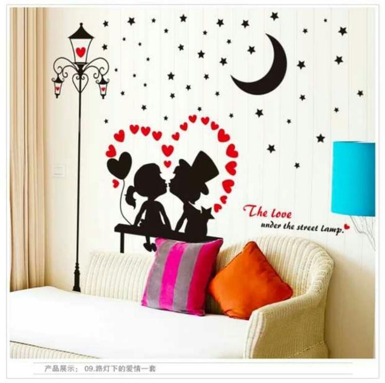 【创意吊灯宿舍墙贴欧式温馨墙壁装饰贴画客厅卧室】