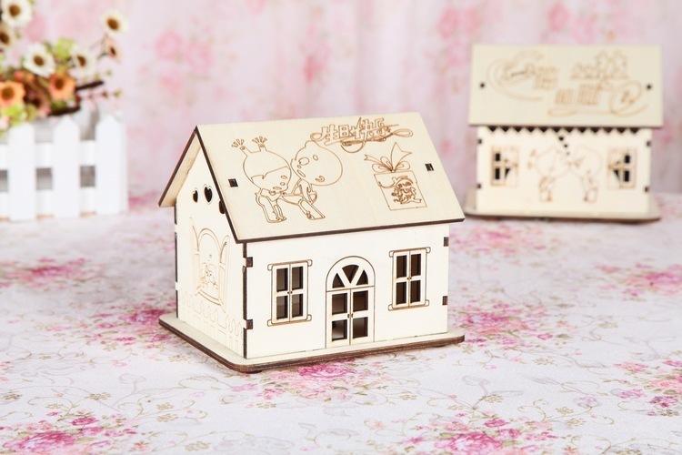 【【艾家家居】创意木质小房子存钱罐(混发)】-null