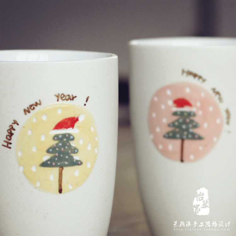 【景德镇手绘可爱卡通圣诞树马克杯创意杯子情侣定制