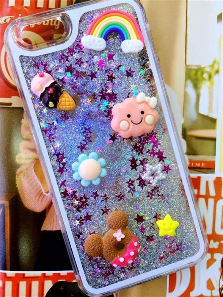 iphone6s手机壳情侣手工diy可爱5s卡通液体流沙壳